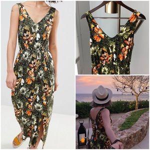 Toucan Tropical Print Maxi Dress